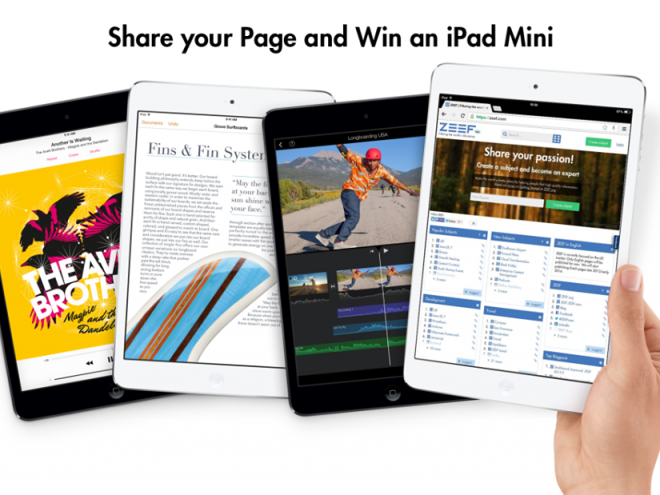 Share your ZEEF page and win an iPad Mini!
