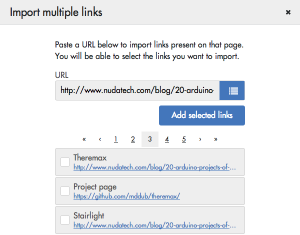 Import multiple links