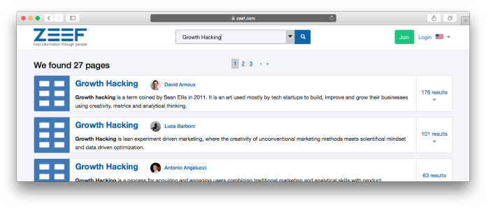 ZEEF search results for Growth Hacking